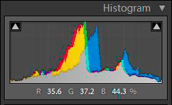 Image 10-B. And its respective histogram, shewing an even distribution of tones.